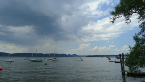 View from Ossining: Croton Point is the darker mass to the right